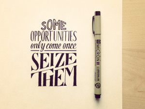 Some Opportunities Only Come Once – Seize Them
