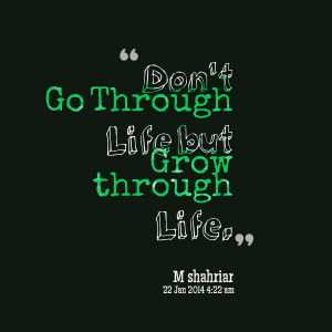 Quotes Picture: don't go through life but grow through life