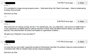 Without comment, here were the items in my inbox from him through the ...