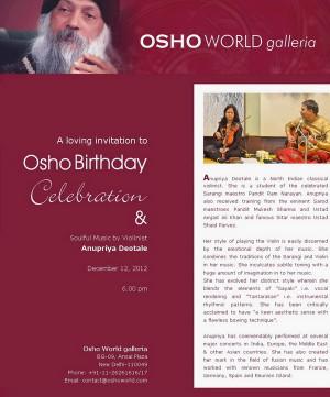 loving invitation to celebrate Osho Birthday at Osho World galleria