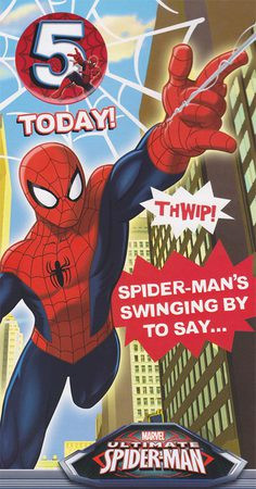 Spiderman - 5th Birthday Card With Badge