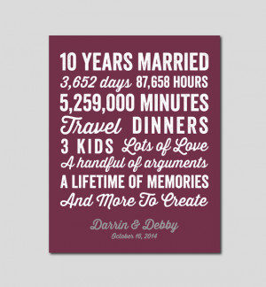 10 Year Anniversary Gift 10 year Wedding Anniversary You choose Colors ...