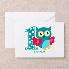 Cute First Birthday Owl Greeting Card for