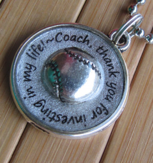 Softball Coach pendant ...thank you for investing in my life...thank ...