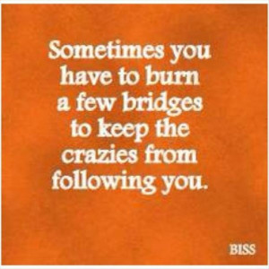 Sometimes you have to burn a few bridges to keep the crazies from ...