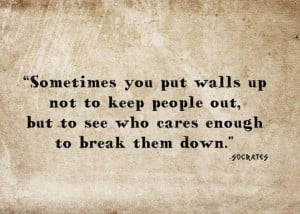 Sometimes you put walls up not to keep people out, but to see who ...