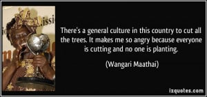 ... so angry because everyone is cutting and no one is planting. - Wangari