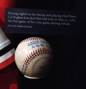 foul ball from the first game Cal Ripken, Jr. played in during his ...