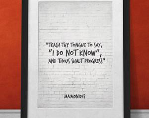 ... and thous shalt progress, Maimonides Life Wisdom Quote Wall Decor