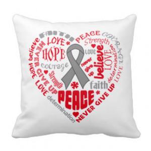Brain Cancer Awareness Heart Words Pillow