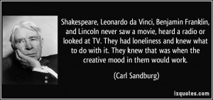 Vinci, Benjamin Franklin, and Lincoln never saw a movie, heard a radio ...