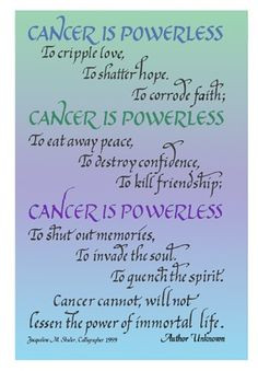 ... this hand-lettered card to share with other cancer patients.... More