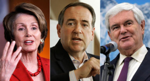 Nancy Pelosi, Mike Huckabee and Newt Gingrich are shown.  AP Photos