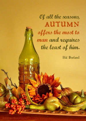 Faux Fall Vignette :: Fall Quote :: AnExtraordinaryDay.net