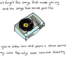 art, colors, drawing, quote, quotes, record player, songs, words