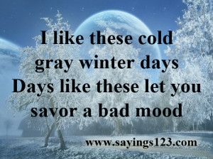 Like These Cold Gray Winter Let You Savor A Bad Mood