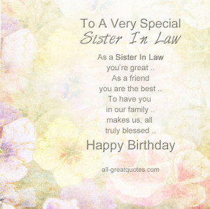 ... Birthday Cards For Sister In Law - To A Very Special Sister In Law
