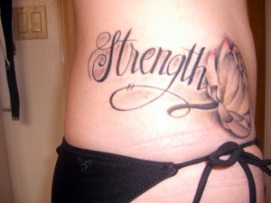 combination of strength and a delicate rose in this strength tattoo ...