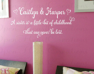 Sister Wall Decal Quotes - Baby Nursery Twin Girls Teen Vinyl Wall ...