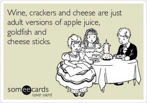 Wine, crackers and cheese