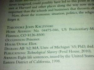 The unabomber has updated his status in the Harvard alum magazine ...