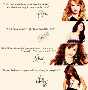 demi lovato, miley cyrus, quotes, selena gomez, taylor swift, words