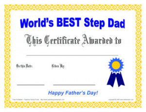step dad father's day award certificate - free printable award