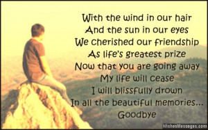 ... why can't we be in a long distance friendship? Goodbye and cheers