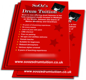 Drum Tuition leaflet printed for Sooz's. She offer drum lesson in her ...
