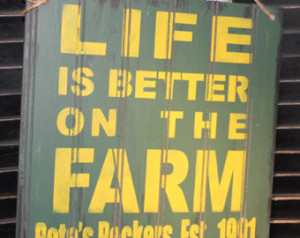 LIFE is Better at the FARM Sign/Joh n Deere Colors/Personalized ...