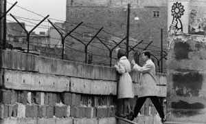 West Berlin, 1961. A young woman talks to her mother on the eastern ...
