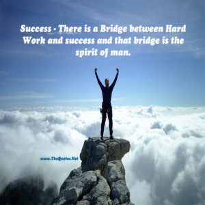 Motivational Quote on Success: There is a bridge between hard work and ...