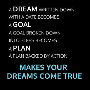 Dream, goal, plan...