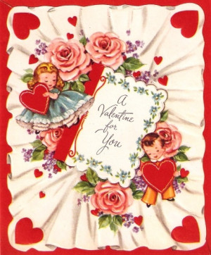 Vintage Valentine Card Children Hearts Roses by PaperPrizes