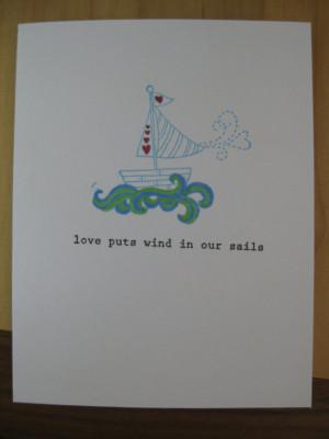sailboat love quote greeting card - handmade stationary