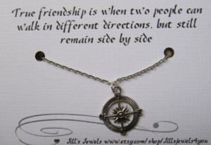 Compass Best Friend Necklace and Quote Inspirational Card- Bridesmaids ...