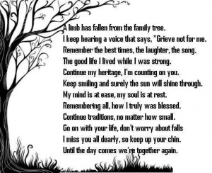 Poem about losing a Family member to Heaven !