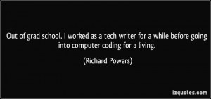Out of grad school, I worked as a tech writer for a while before going ...