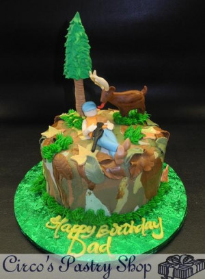 Hunting Cake One-tier fondant Hunting Cake with Edible Characters ...