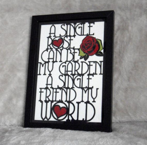 A4 Friend Paper Cut Rose Garden Quote by PrettyAwesomePaper, £25.00
