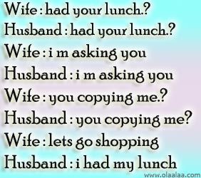 Husband Wife Jokes-Lunch-Shopping-Funny Wife