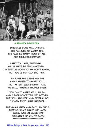 redneck love poem just to git ya in the mood for redneck love