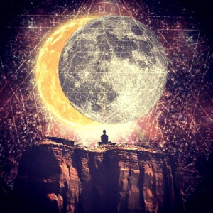 drawing, galaxy, moon, psychedelic, sky, sun