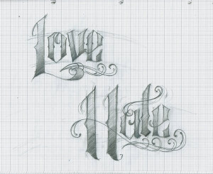 ... tattoo love hate and pain script hate love wings by love hate tattoo