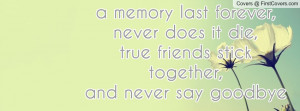 memory last forever,never does it die,true friends stick together ...
