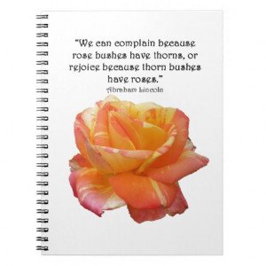 Red Yellow Variegated Rose and Thorn Quote Spiral Notebook