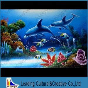 dolphin oil painting on
