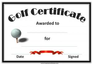 Golf Award Certificate Template