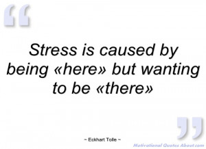 stress is caused by being «here» but eckhart tolle