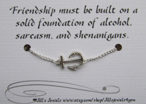 Anchor Charm Anklet and Funny Friendship Card- Bridesmaids Gift ...